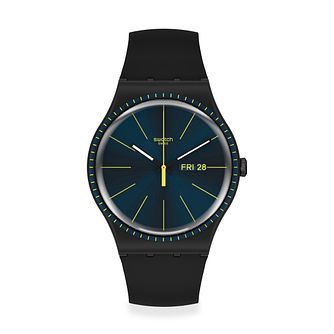 Swatch Black Rails Unisex Black Silicone Strap Watch - Product number 1260200
