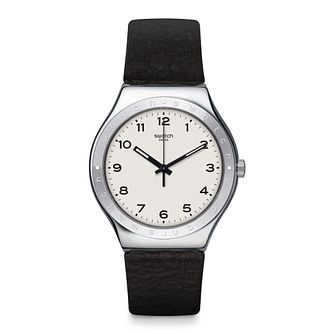 Swatch Big Will Unisex Black Leather Strap Watch - Product number 1260286