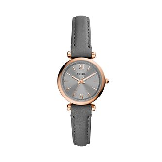 Fossil Carlie Mini Ladies' Grey Leather Strap Watch - Product number 1265237