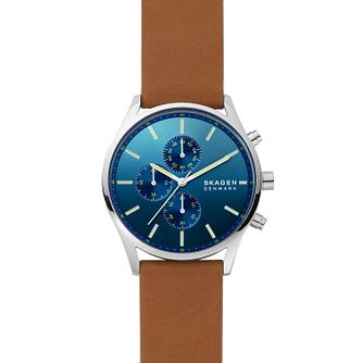Skagen Holst Chronograph Men's Brown Leather Strap Watch - Product number 1265407