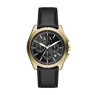 Armani Exchange Chronograph Men's Black Leather Strap Watch - Product number 1265539