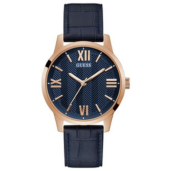 Guess Campbell Men's Blue Leather Strap Watch - Product number 1266454