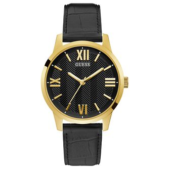 Guess Campbell Men's Black Leather Strap Watch - Product number 1266535
