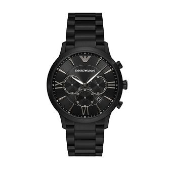 Emporio Armani Chronograph Men's Black IP Bracelet Watch - Product number 1267108