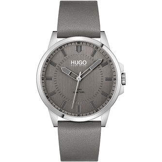 HUGO #FIRST Men's Grey Leather Strap Watch - Product number 1267760