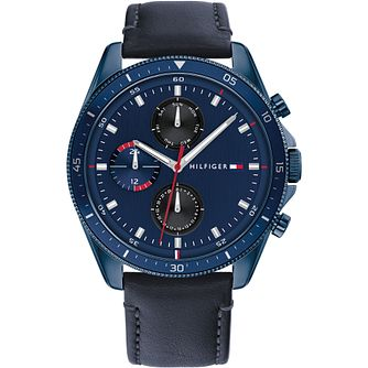 Tommy Hilfiger Parker Men's Blue Leather Strap Watch - Product number 1267892