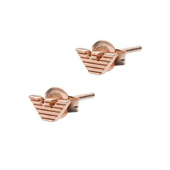 Emporio Armani Rose Gold Tone Logo Stud Earrings - Product number 1268171
