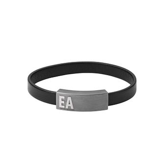 Emporio Armani Men's Black Leather & Grey IP Bracelet - Product number 1268252