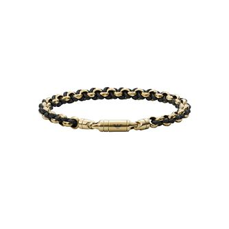 Emporio Armani Men's Yellow Gold Tone & Black Cord Bracelet - Product number 1268279