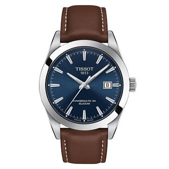 Tissot Gentleman Powermatic Men's Brown Leather Strap Watch - Product number 1268473