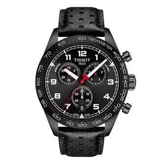 Tissot PRS 516 Chronograph Men's Black Leather Strap Watch - Product number 1268651