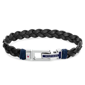 Tommy Hilfiger Men's Black Leather Braided Bracelet - Product number 1269186