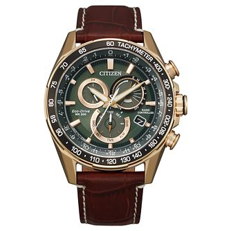 Citizen PCAT Men's Brown Leather Strap Watch - Product number 1270567