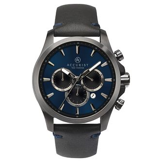 Accurist Chronograph Men's Black Leather Strap Watch - Product number 1271083