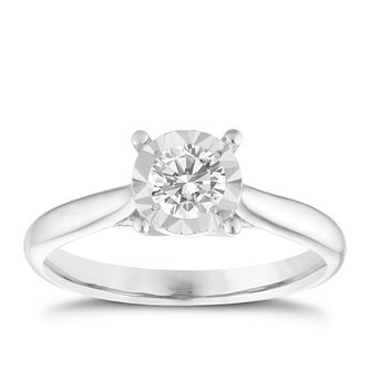 9ct White Gold 2/5ct Illusion Set Diamond Ring - Product number 1271636