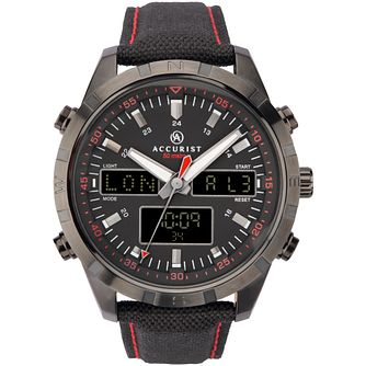 Accurist World Time Display Men's Black Leather Strap Watch - Product number 1271768