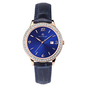 Accurist Crystal Ladies' Blue Leather Strap Watch - Product number 1271806