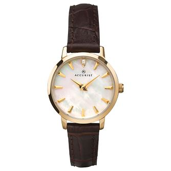 Accurist Mother Of Pearl Ladies' Brown Leather Strap Watch - Product number 1271822