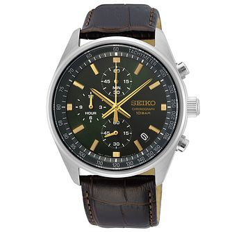 Seiko Quartz Sports Chrono Men's Brown Leather Strap Watch - Product number 1272284