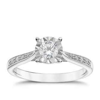 9ct white gold 40 point illusion set diamond ring - Product number 1272292
