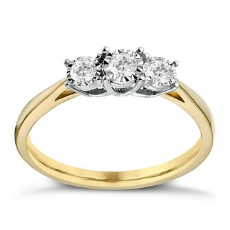 9ct Yellow Gold 1/5ct Illusion Set 3 Stone Ring - Product number 1272446