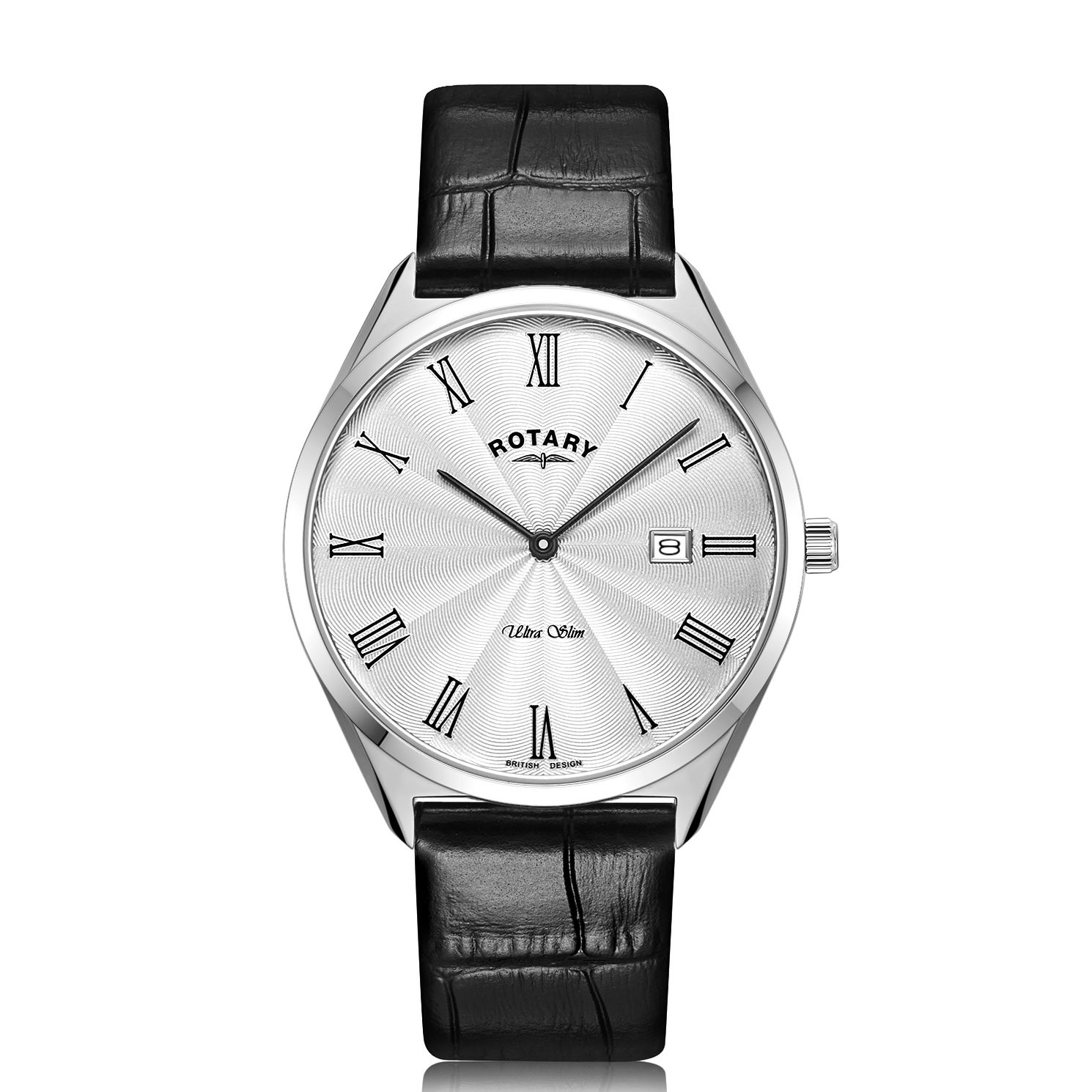 Rotary Ultra Slim Men's Black Leather Strap Watch - Product number 1273116