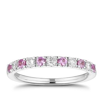 18ct White Gold Pink Sapphire & 0.20ct Diamond Ring - Product number 1273353