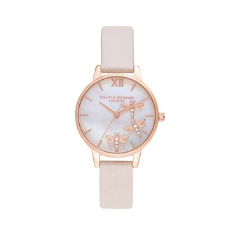 Olivia Burton Dancing Dragonfly Pink Leather Strap Watch - Product number 1273906