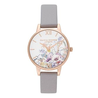 Olivia Burton Enchanted Garden Lilac Leather Strap Watch - Product number 1273922