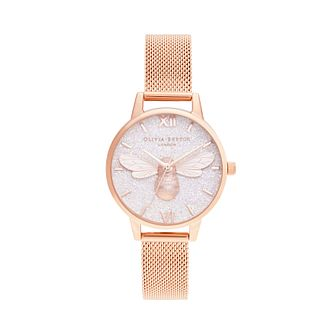 Olivia Burton Lucky Bee Rose Gold Tone Mesh Bracelet Watch - Product number 1274457