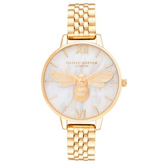 Olivia Burton Lucky Bee Yellow Gold Tone Bracelet Watch - Product number 1274465
