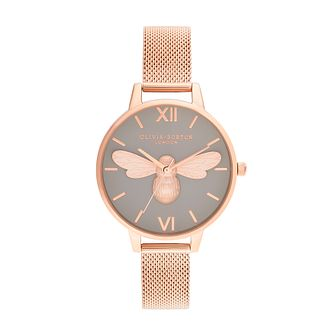 Olivia Burton Lucky Bee Rose Gold Tone Mesh Bracelet Watch - Product number 1274473