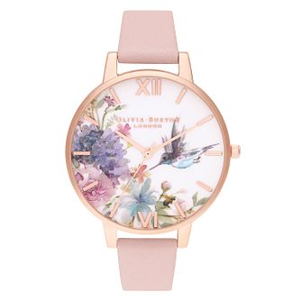 Olivia Burton Painted Prints Pink Leather Strap Watch - Product number 1274538