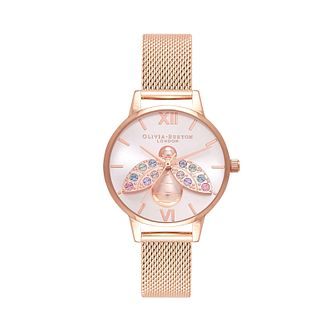 Olivia Burton Rainbow Bee Rose Gold Tone Bracelet Watch - Product number 1274570