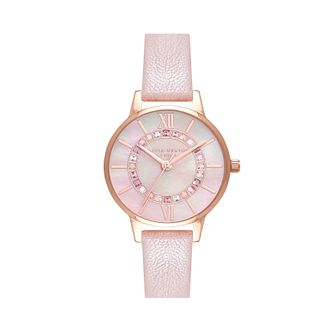 Olivia Burton Sparkle Wonderland Pink Leather Strap Watch - Product number 1274732