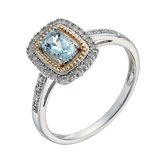Silver & 9ct Yellow Gold Aquamarine & 15 Point Diamond Ring - Product number 1275119