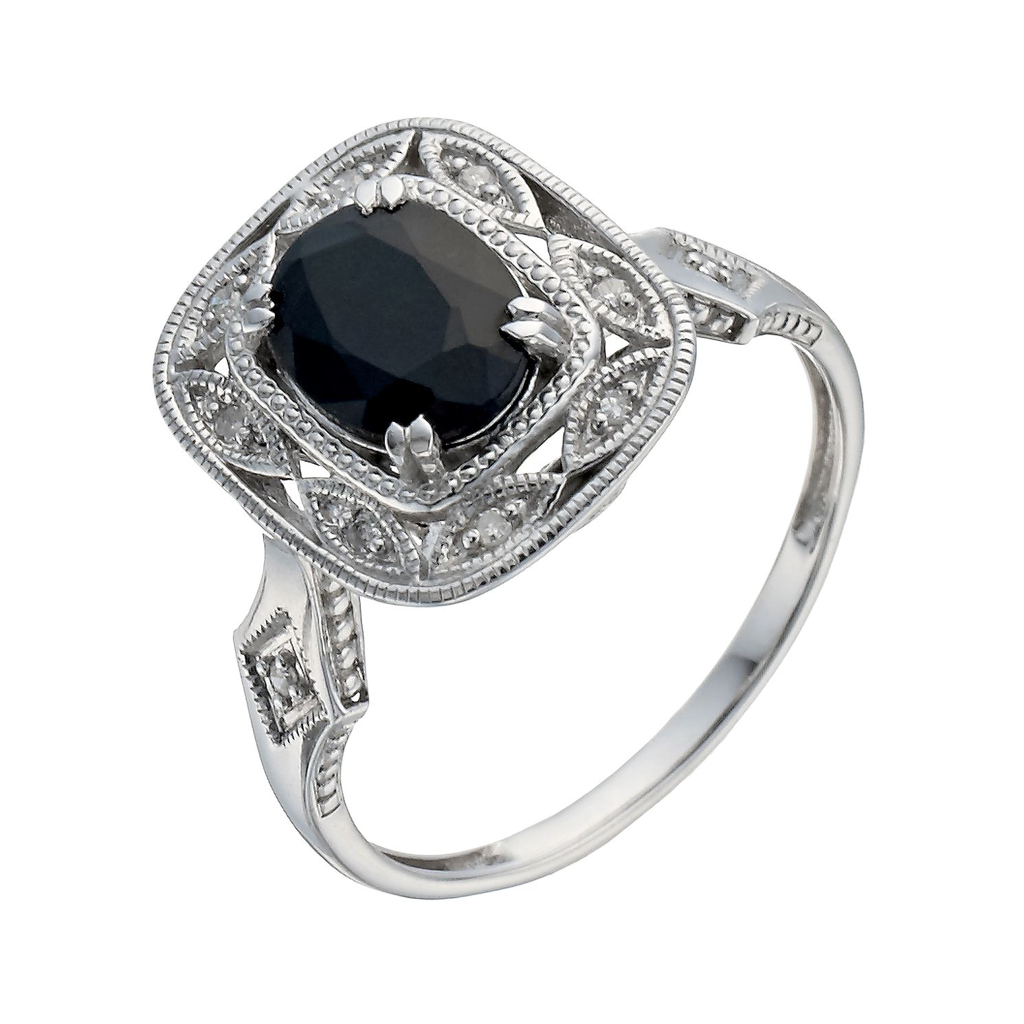 Sterling Silver Sapphire & Diamond Vintage Ring - Product number 1275372