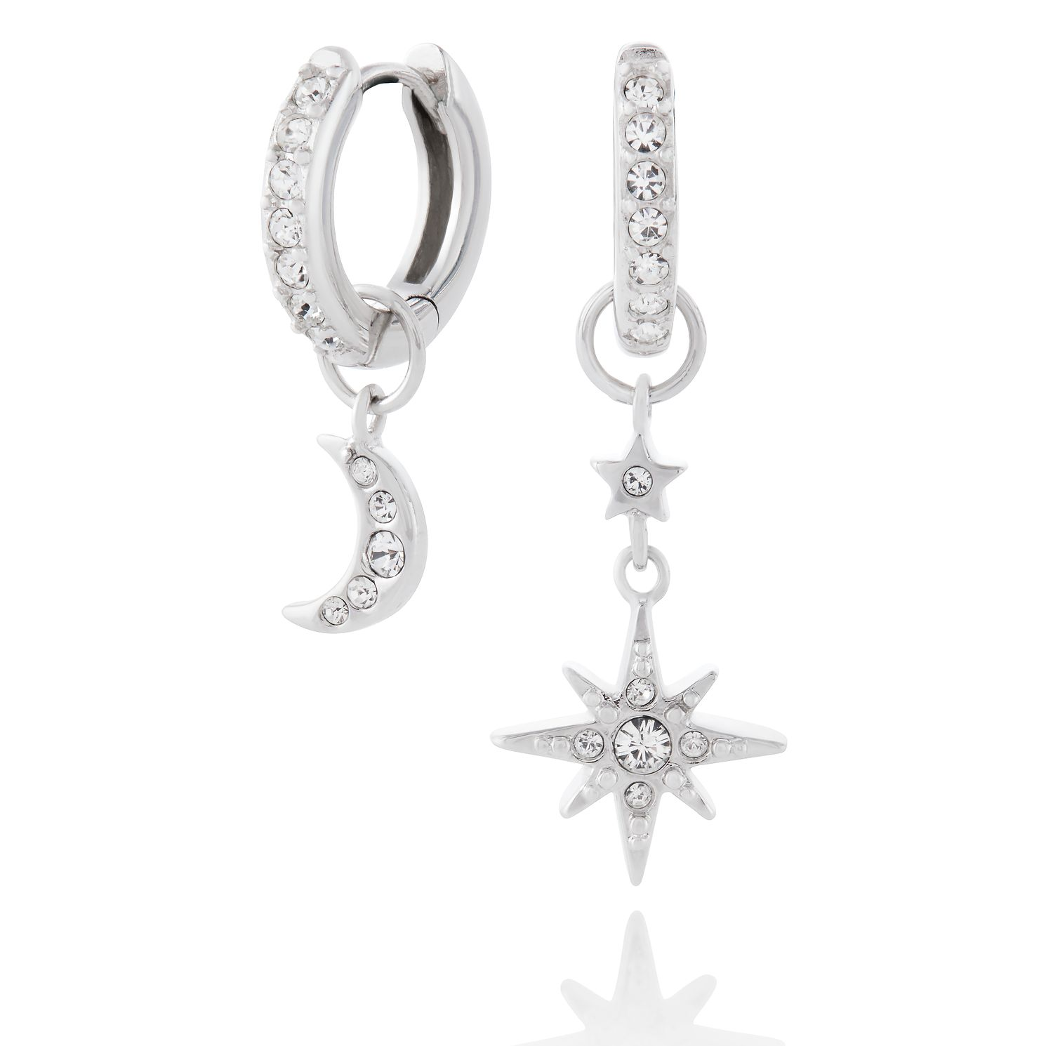 Olivia Burton Moon & Star Silver Huggie Hoop Earrings - Product number 1280007