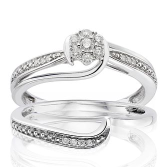 Perfect Fit 9ct White Gold 0.15ct Diamond Twist Bridal Set - Product number 1280201