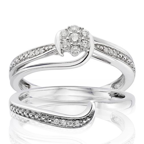 9ct White Gold 0.15ct Diamond Perfect Fit Bridal Set - Product number 1280201