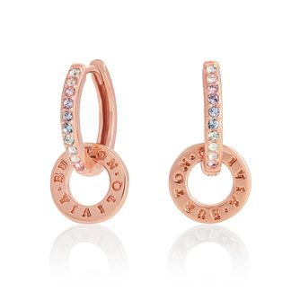 Olivia Burton Rose Gold Plated Silver Logo Huggie Earrings - Product number 1280406