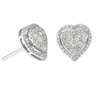 9ct White Gold 0.50ct Diamond Heart Stud Earrings - Product number 1281534