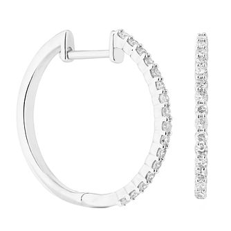 9ct White Gold 0.25ct Diamond Hoop Earrings - Product number 1281542