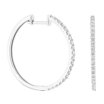 9ct White Gold 0.50ct Diamond Hoop Earrings - Product number 1281550