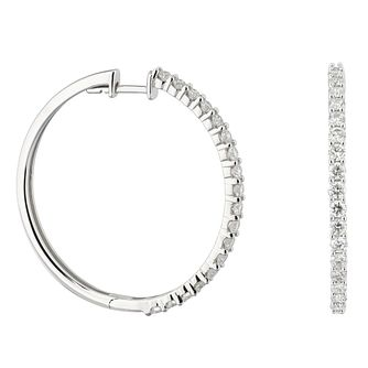 9ct White Gold 1ct Diamond Hoop Earrings - Product number 1281569