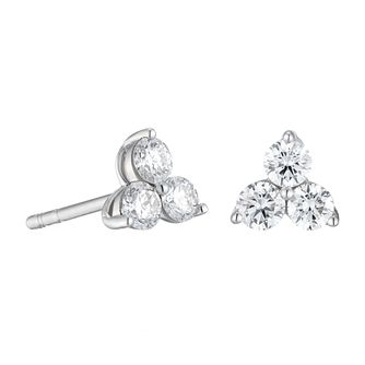 9ct White Gold 0.50ct Diamond Trilogy Stud Earrings - Product number 1281593