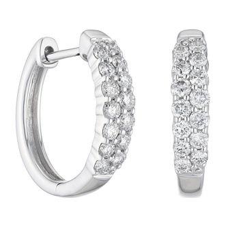 9ct White Gold 0.50ct Diamond Hoop Earrings - Product number 1281623