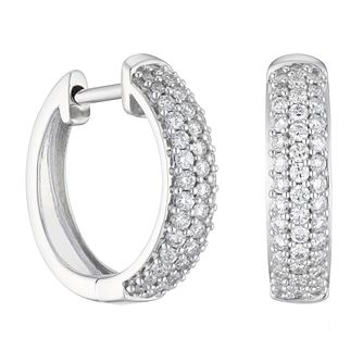 18ct White Gold 0.50ct Diamond Pave Hoop Earrings - Product number 1281631
