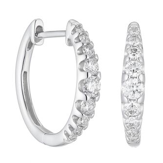 18ct White Gold 0.50ct Diamond Hoop Earrings - Product number 1281658
