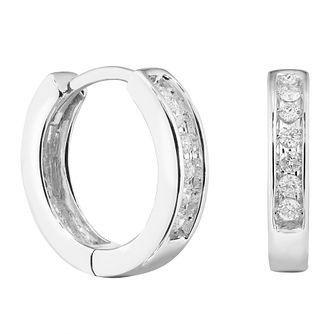 9ct White Gold 0.12ct Diamond Huggie Hoop Earrings - Product number 1281666